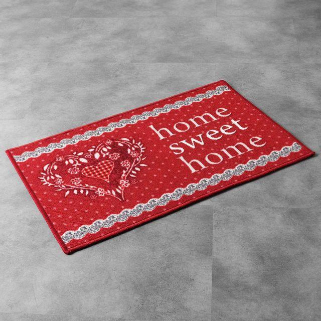 Tapis Deco Cdaffaires rectangle 40 x 60 cm imprime home love Rouge