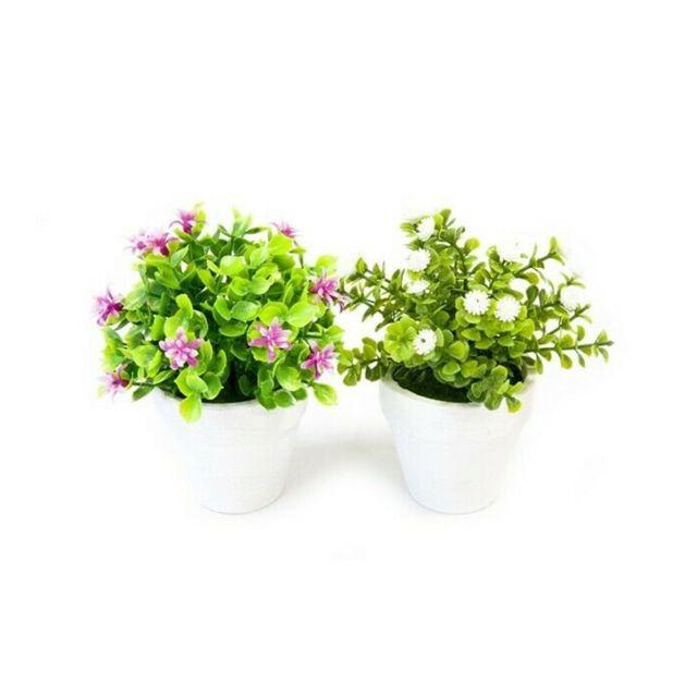 Visiodirect 12 fleurettes en pot 2 coloris assortis - 14 x 11 cm