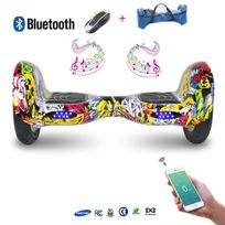 COOL AND FUN - COOL&FUN Hoverboard Batterie Samsung, Bluetooth,Scooter électrique Auto-équilibrage,gyropode connecté 10 pouces hiphop/graffiti design