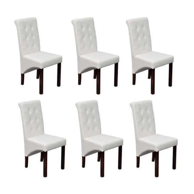 Sans Marque Chaise antique simili cuir blanc lot de 6