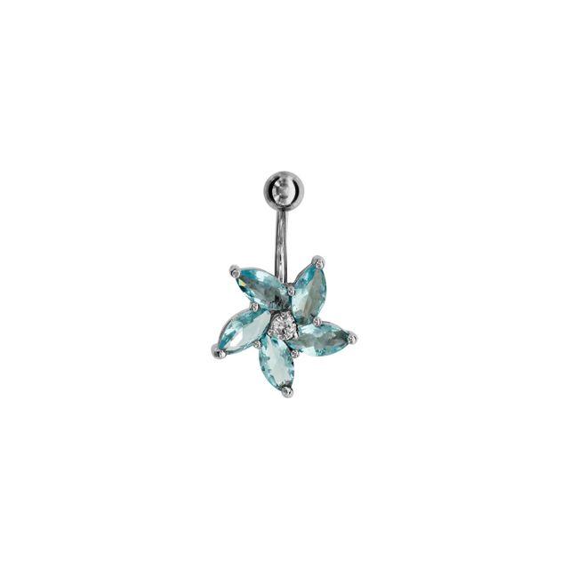 1001BIJOUX Piercing nombril fleur bleu