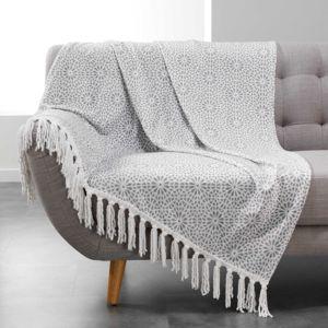 Douceur D'INTERIEUR - Plaid à franges flanelle Tunis 125x150 cm gris Gris, Blanc