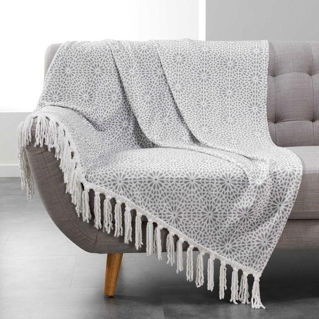 Douceur D'INTERIEUR - Plaid à franges flanelle Tunis 125x150 cm gris Gris, Blanc - 150cm x 125cm