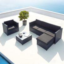 CONCEPT USINE - Amorgos noir : salon de jardin d\'angle en résine 4 ...