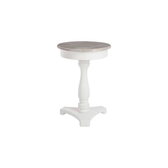 Table ronde en bois coloris blanc diamètre 60cm