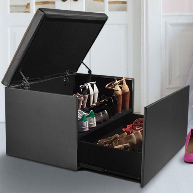 Idmarket - Coffre rangement banquette luxe gris spécial chaussures ...