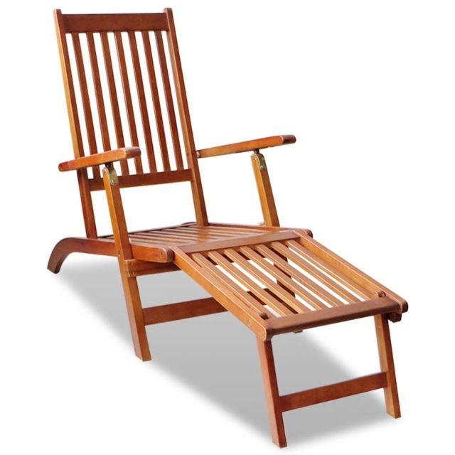 Vidaxl Chaise de terrasse avec repose-pied Bois d'acacia solide