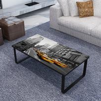 Rocambolesk - Superbe Table Basse Rectangulaire en Verre Imprimé Neuf