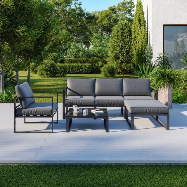 Avril Paris 5 Places salon de jardin angle design ensemble de salon aluminium couleur Gris - Vito