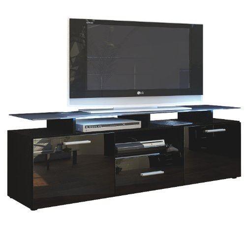 Mpc meuble tv noir mat fa ade laqu e avec led 146 cm pas cher achat vente meubles tv hi - Meuble tv noir mat ...