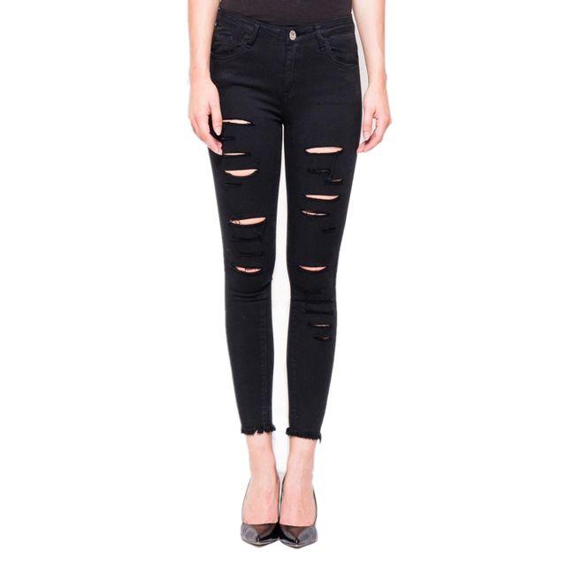 go tendance jean skinny noir d chir pas cher achat vente jeans femme rueducommerce. Black Bedroom Furniture Sets. Home Design Ideas
