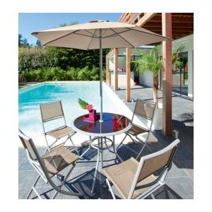 Jja - Salon de jardin ajaccio 6 pieces couleur taupe - 735171 ...