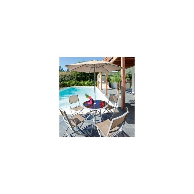 Jja - Salon de jardin ajaccio 6 pieces couleur taupe - 735171 - pas ...