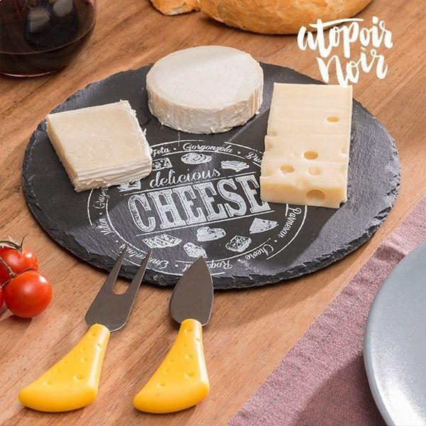 Totalcadeau Set plateau fromage en ardoise rond avec 1 fourchette et 1 couteau