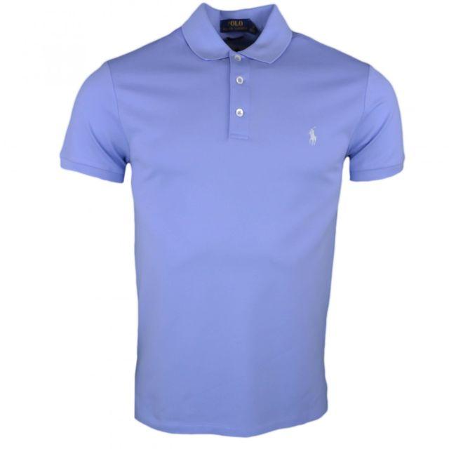 Ralph Lauren - Polo piqué bleu logo ciel slim fit pour homme - pas cher  Achat   Vente Polo homme - RueDuCommerce 8815c2f6757