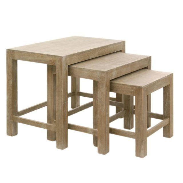 Tousmesmeubles Tables gigognes - Tania - L 65 x l 40 x H 52