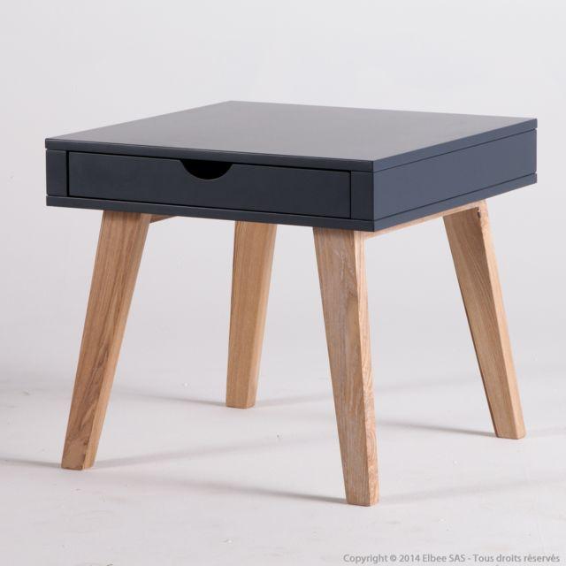 Kaligrafik Table d'appoint en bois 1 tiroir Hauteur 50cm