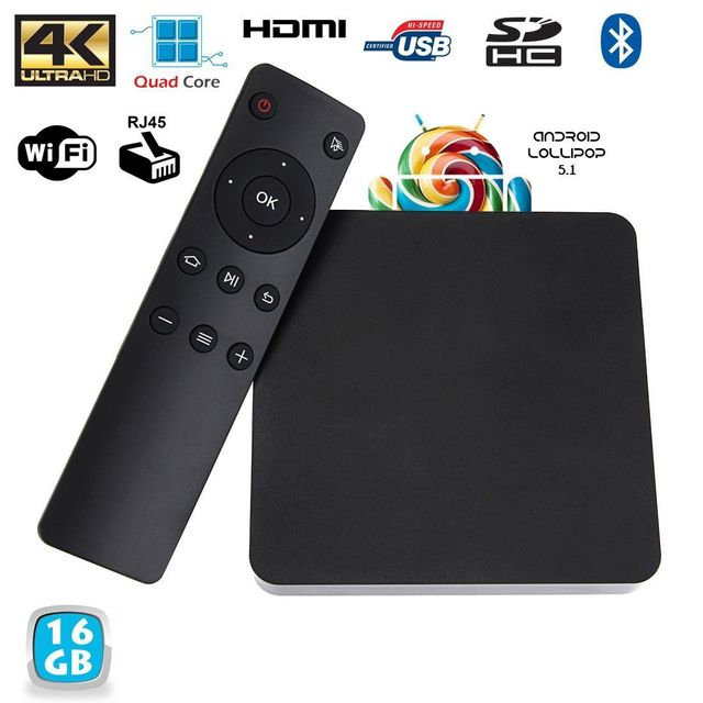 Yonis Mini Pc Android Tv Box 4K passerelle multimédia Ram 2Go Cpu 2Ghz 16 Go