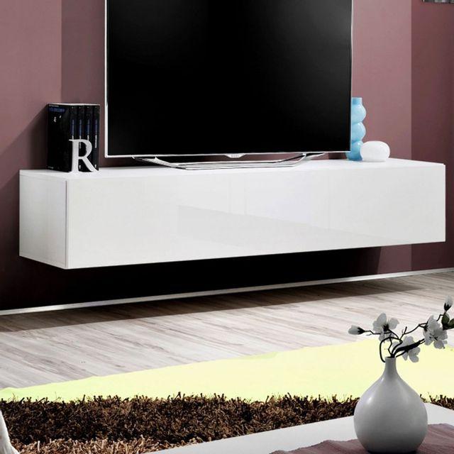 Paris Prix Meuble Tv Mural Design Fly I 160cm Blanc Pas Cher Achat Vente Meubles Tv Hi Fi Rueducommerce
