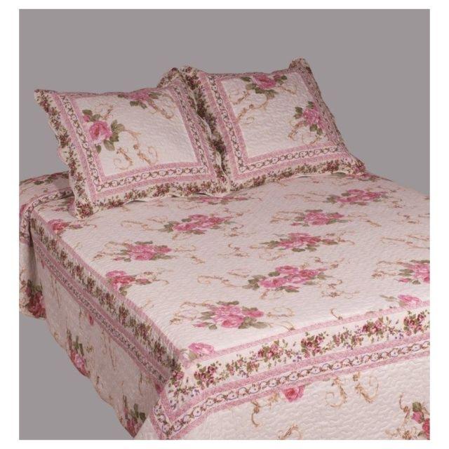 decor d 39 autrefois couvre lit boutis 2 places bouquet rose pas cher achat vente couvertures. Black Bedroom Furniture Sets. Home Design Ideas