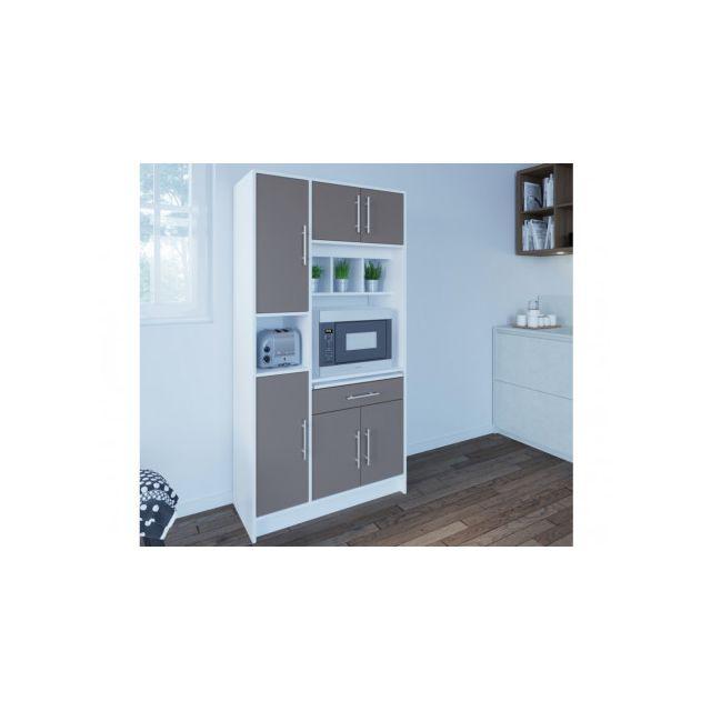 Buffet de cuisine MADY - 5 portes & 1 tiroir - Coloris gris