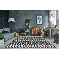 Allotapis - Tapis moderne intérieur et extérieur effet sisal noir et blanc Gazania