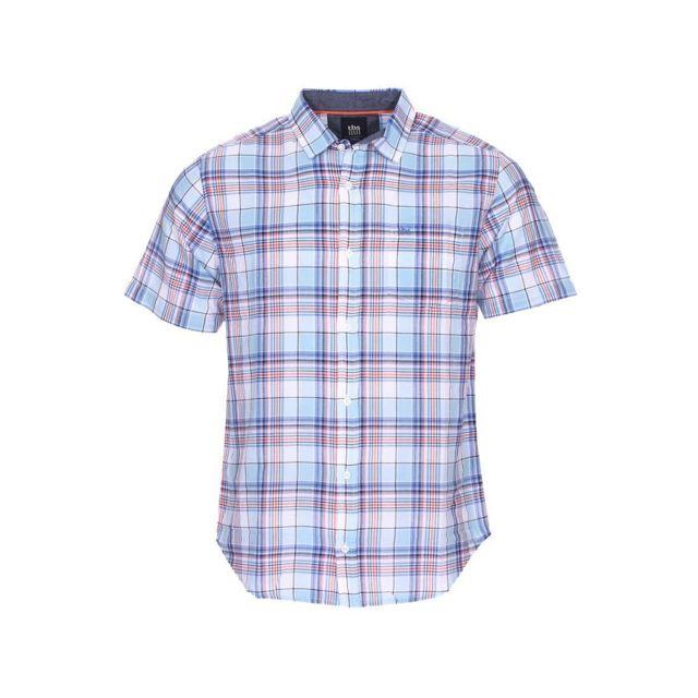 Tbs Chemise manches courtes cintrée Irochemi en coton léger bleu ciel à carreaux rouges, noirs, bleu indigo et blancs