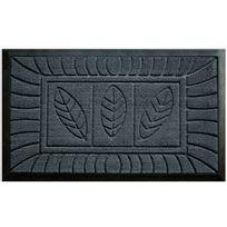 Deco Tapis - Cdaffaires Tapis d'entree rectangle 45 x 75 cm relief pvc feuilles Gris