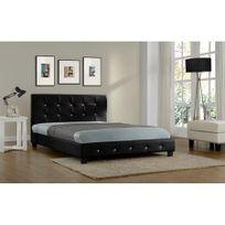 Rocambolesk - Magnifique Lit Palace 160x200 cm - Cadre de lit en simili cuir capitonné / Noir