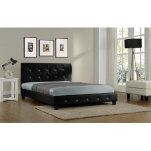 rocambolesk magnifique lit palace 140x190 cm cadre de lit en simili cuir capitonn noir. Black Bedroom Furniture Sets. Home Design Ideas