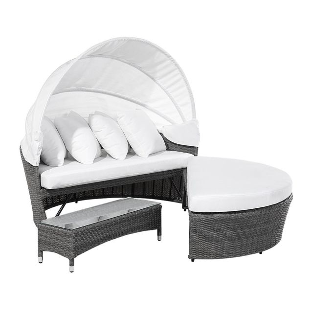BELIANI - Lit de jardin gris avec capote réglable et coussins blanc ...