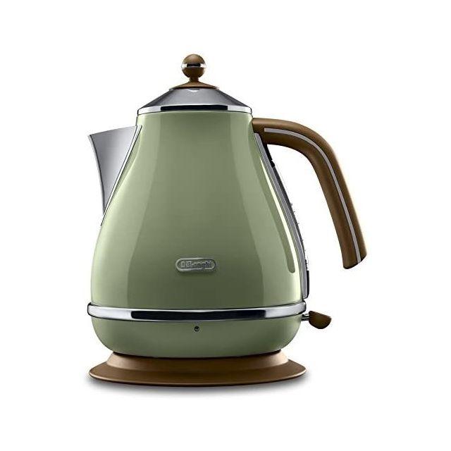 Delonghi bouilloire électrique de 1,7L sans fil style rétro 2000W vert olive