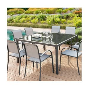 Hesp ride table piazza fixe 8 personnes carr e graphite for Table 8 personnes carree