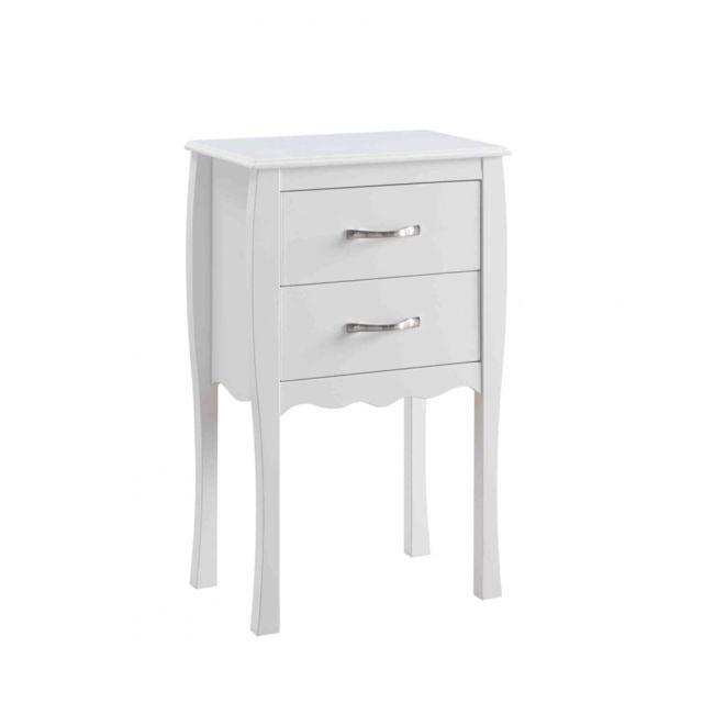 TERRE DE NUIT Commode 2 tiroirs en bois coloris blanc - CO4011