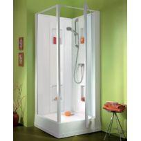 Leda - Cabine de douche Izi Box carré porte pivotante verre transparent 80 x 80 cm - L11IZ0073