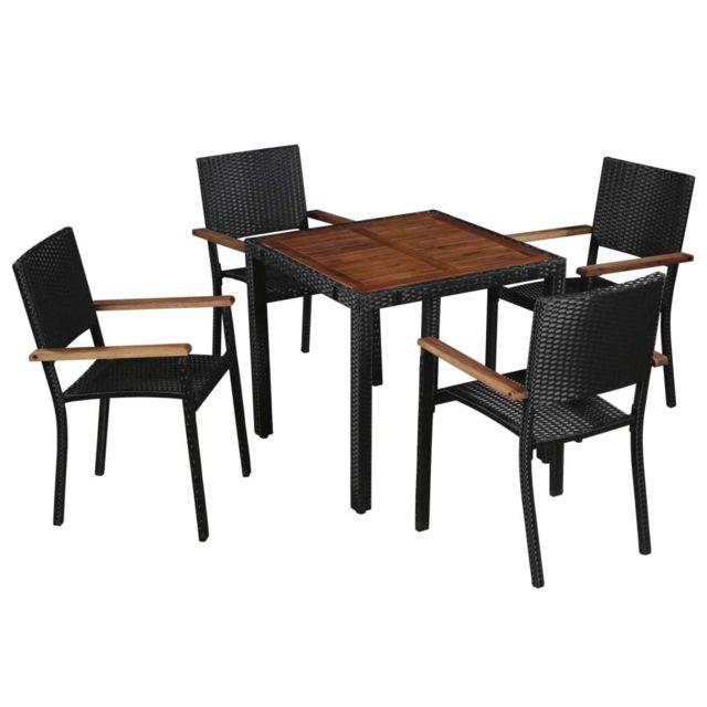 Mobilier d\'extérieur 5 pcs Résine tressée et bois d\'acacia | Noir -  Meubles/Meubles de jardin/Ensembles de meubles d\'extérieur | Noir | Noir