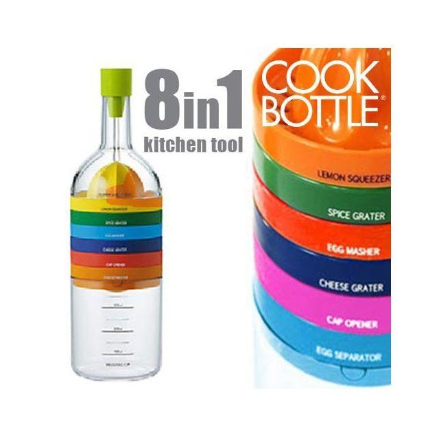 Totalcadeau Pack de 8 ustensiles de cuisine en une bouteille - accessoires