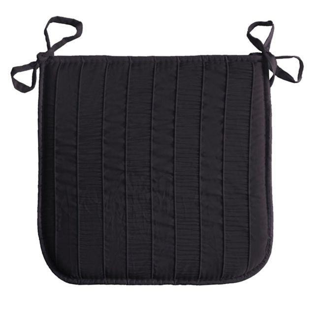 Douceur D'INTERIEUR Coussin galette de chaise Jacquard rayure noir 40 x 40 cm