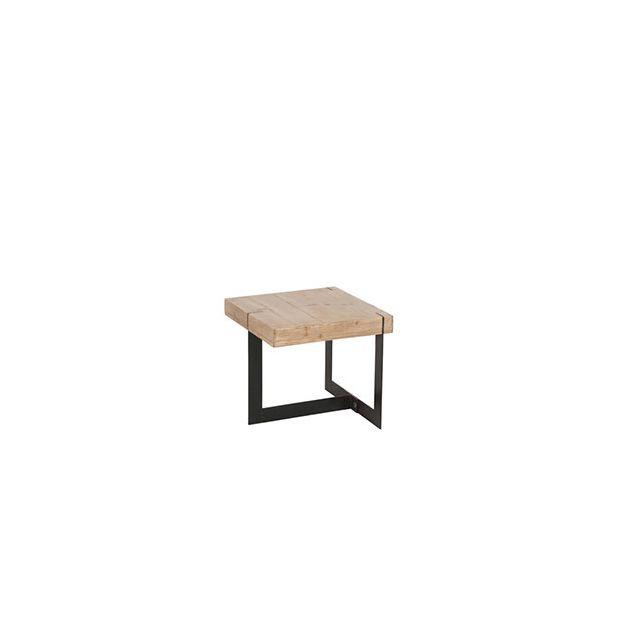 Table gigogne carrée 50x45cm en métal et bois naturel