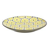 Pomax - Assiette à dessert en grès motif fleur et pois jaune/noir D.20 Lot de 6 Eden
