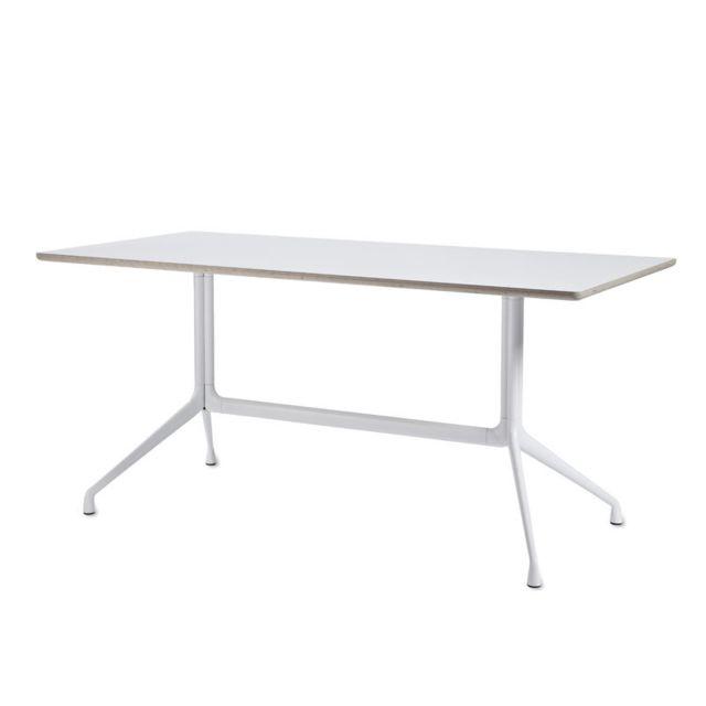 Hay About A Table Aat10 - stratifié blanc, bordure contreplaqué - 160 x 80 cm
