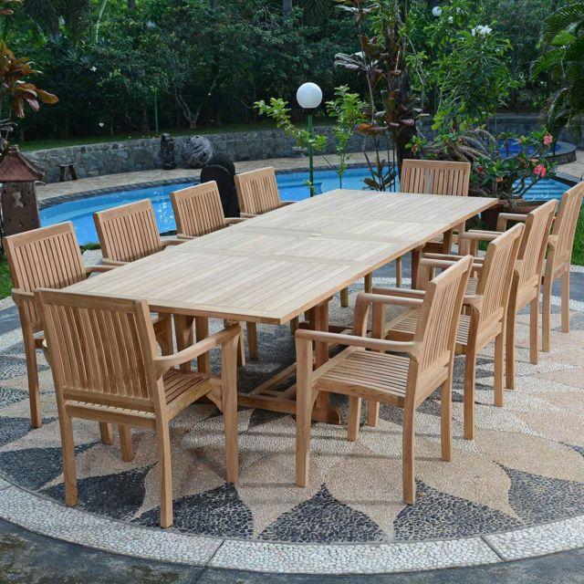Teck\'ATTITUDE - Salon de jardin en teck Ecograde Kanala, table ...