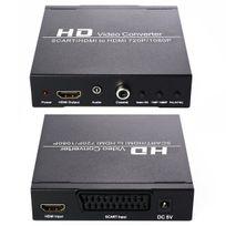 Cabling - Vidéo Convertisseur Adaptateur Péritel vers Hdmi 720p,1080p Up Support Hdtv/ Vhs/VCR/DVD