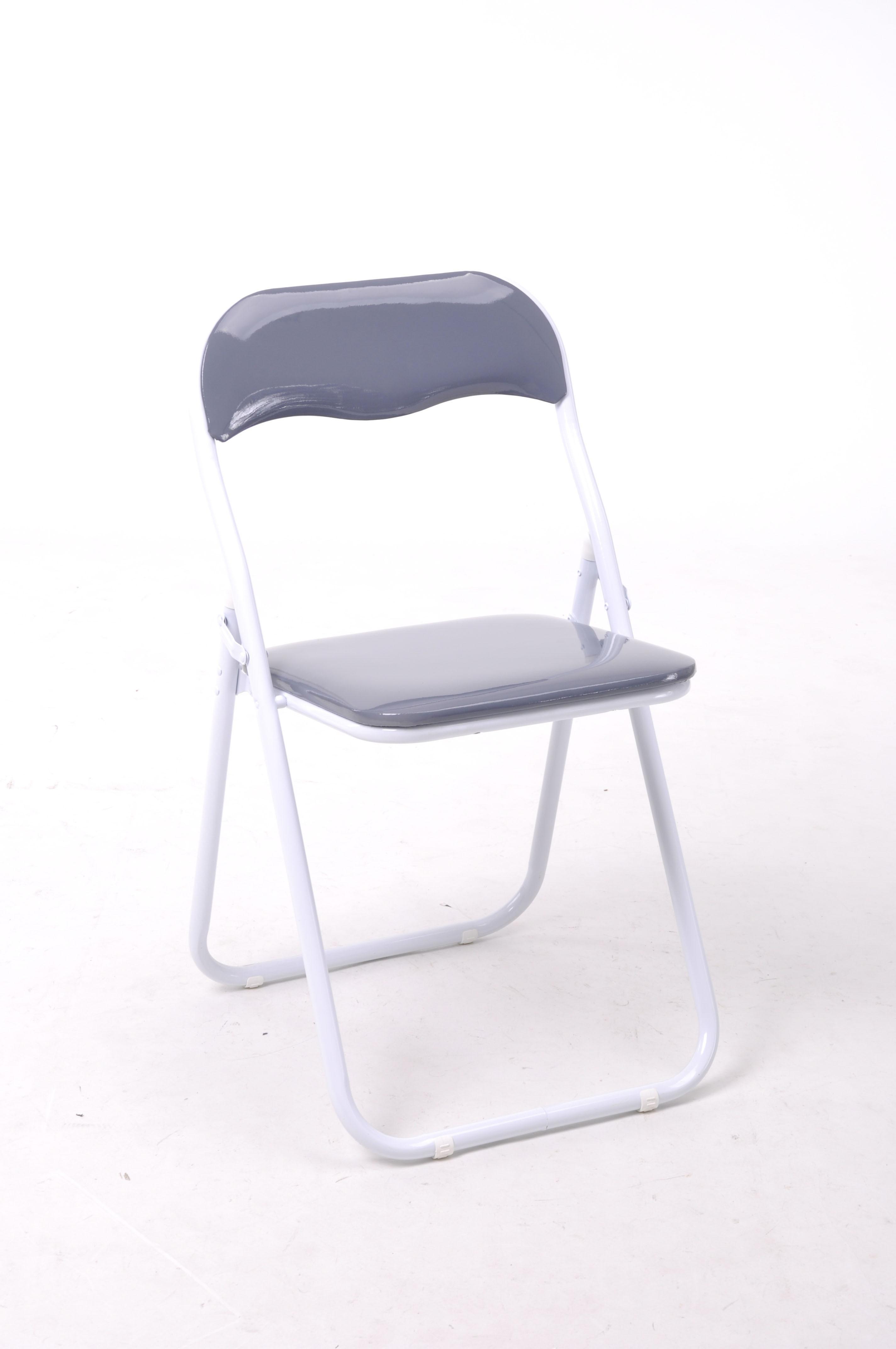 Carrefour home chaise pliante vinyle gris crocus for Chaise crocus