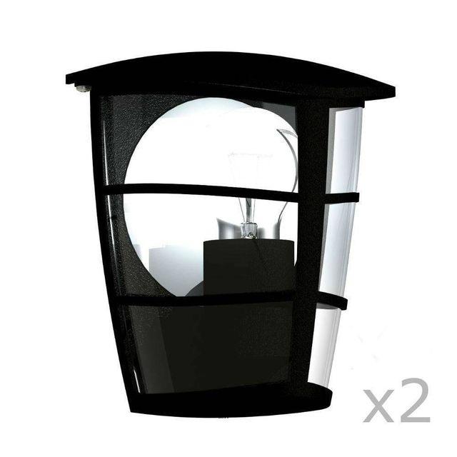 eglo aloria 2 appliques d 39 ext rieur noir h20cm luminaire d 39 ext rieur design par pas. Black Bedroom Furniture Sets. Home Design Ideas