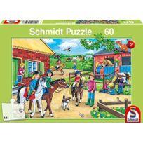 Schmidt Spiele - 56127 - Puzzle Classique - Vacances À La Ferme ÉQUESTRE - 60 PiÈCES