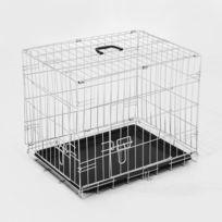 PAWHUT - Cage caisse de transport pliante pour chien en métal argenté 91 x 61 x 67 cm 28