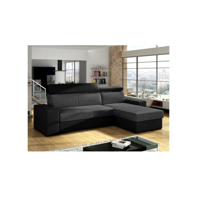 Canapé d'angle convertible et réversible VALMY en tissu et simili - Anthracite et noir