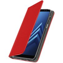 Avizar - Etui Galaxy A8 2018 Clapet portefeuille stand ultra-fin motifs croisillons Rouge