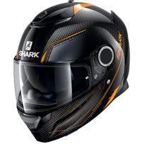 Shark - casque moto intégral en Carbone Spartan Carbon Silicium Doa noir gris orange brillant 2XL